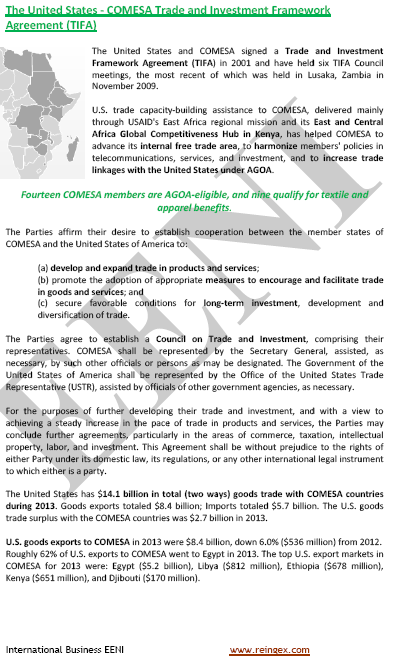 COMESA-United States Free Trade Agreement