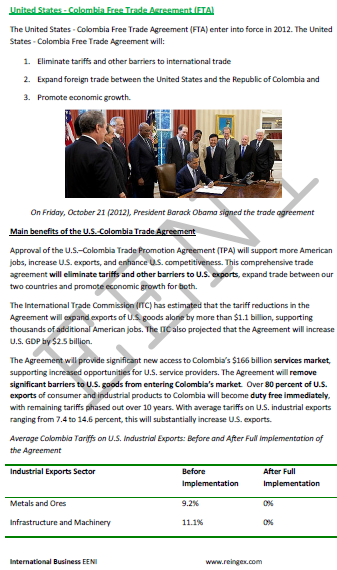 United States-Colombia Free Trade Agreement (Course)