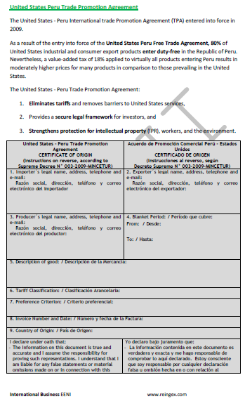 United States-Peru Free Trade Agreement (Course)