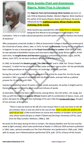Wole Soyinka (Premio Nobel de Literatura nigeriano)