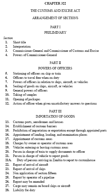 Customs Excise Act of Zambia
